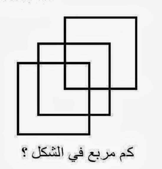 سؤال سوال ذكاء الغاز عبقرية و تفكير مع الحل كم مربع في الشكل ؟