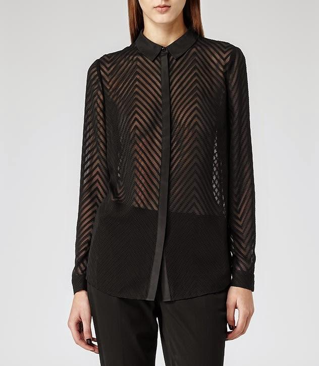 chevron sheer blouse, reiss black sheer blouse, reiss black blouse,