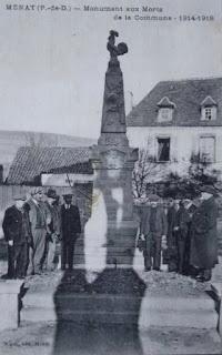 CPA monuments aux Morts du Puy-de-Dôme, Menat