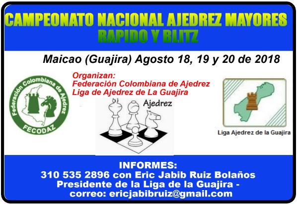 Campeonato Nacional Ajedrez Mayores Masculino y Femenino RAPIDO y BLITZ (Dar clic a la imagen)