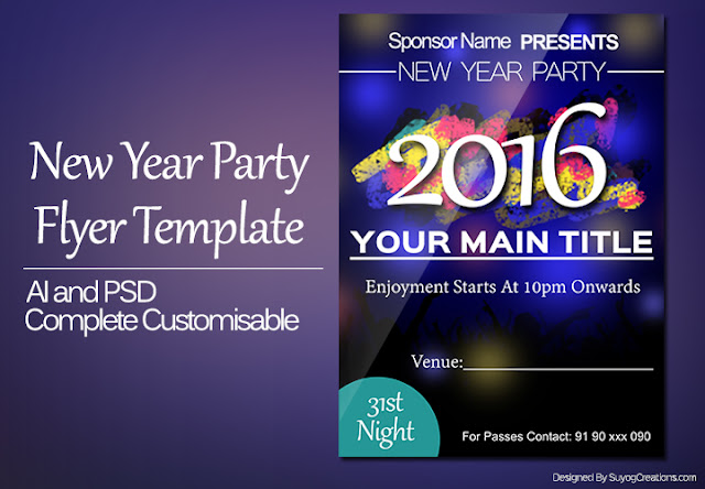 New Year 2016 Party Invitation Flyer Template PSD