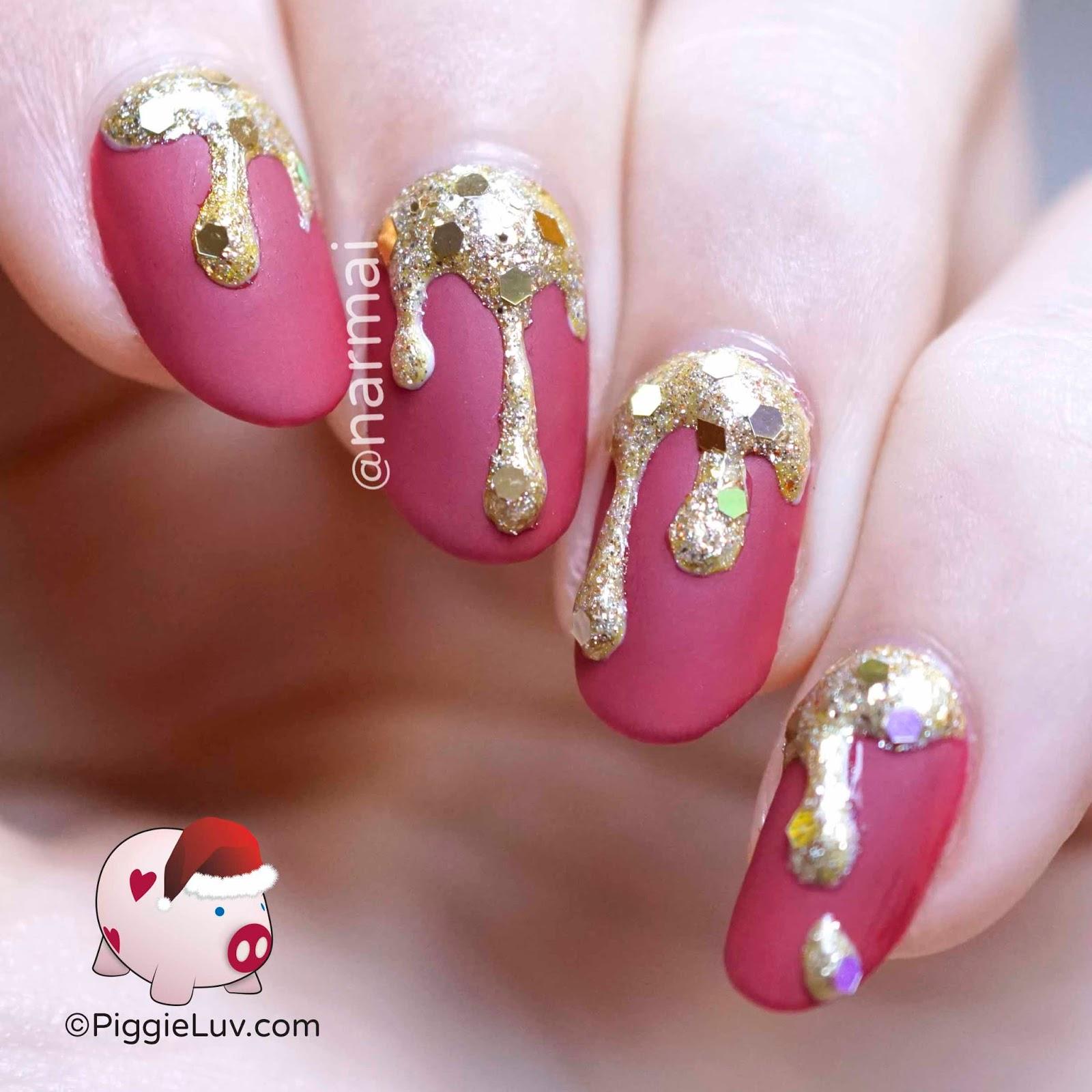 Piggieluv Golden Christmas Drips Nail Art