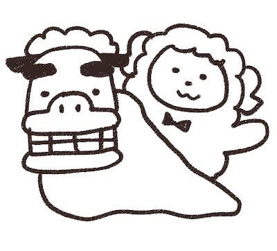 獅子舞と羊のイラスト(未年) モノクロ線画