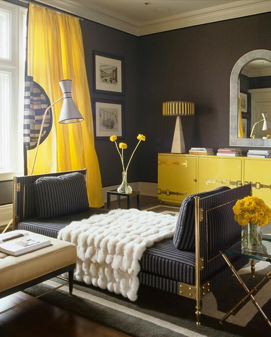 Dormitorios en negro y amarillo colores en casa for Dormitorio negro