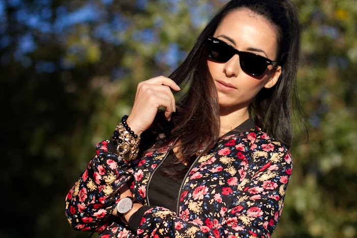FLORAL BOMBER JACKET and ASYMMETRICAL SKIRT