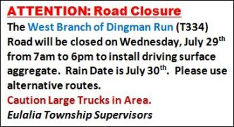 7-29 Road Closed In Eulalia Township
