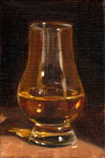 Oil painting of whisky in a Glencairn whisky glass with a dark background.