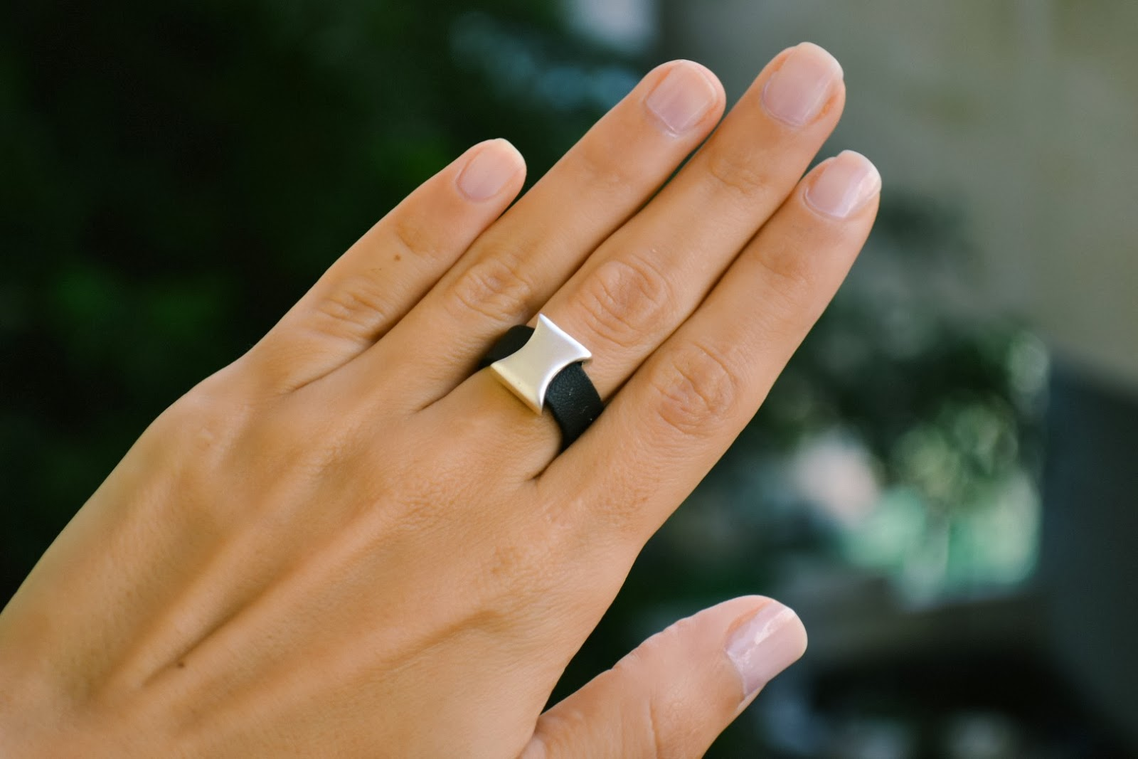 vegan leather silver ring