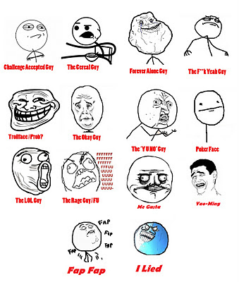 memes engraçados, meme i lied, i lied, the yudo guy, poker face, LOL guy, trollface, challenge accepted, cereal guy, fuk yeah guy, memes da net, memes da internet, fenômenos da internet, para a nossa alegria, menos luiza que está no canadá