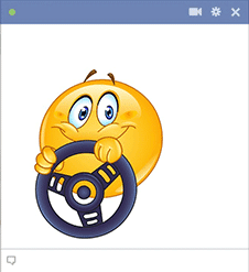 Smiley with driving wheel