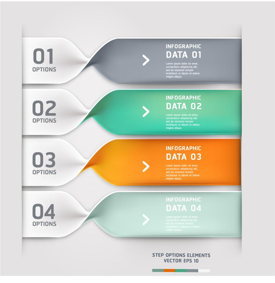 捻れたバナー デザイン spiral infographics options banner イラスト素材