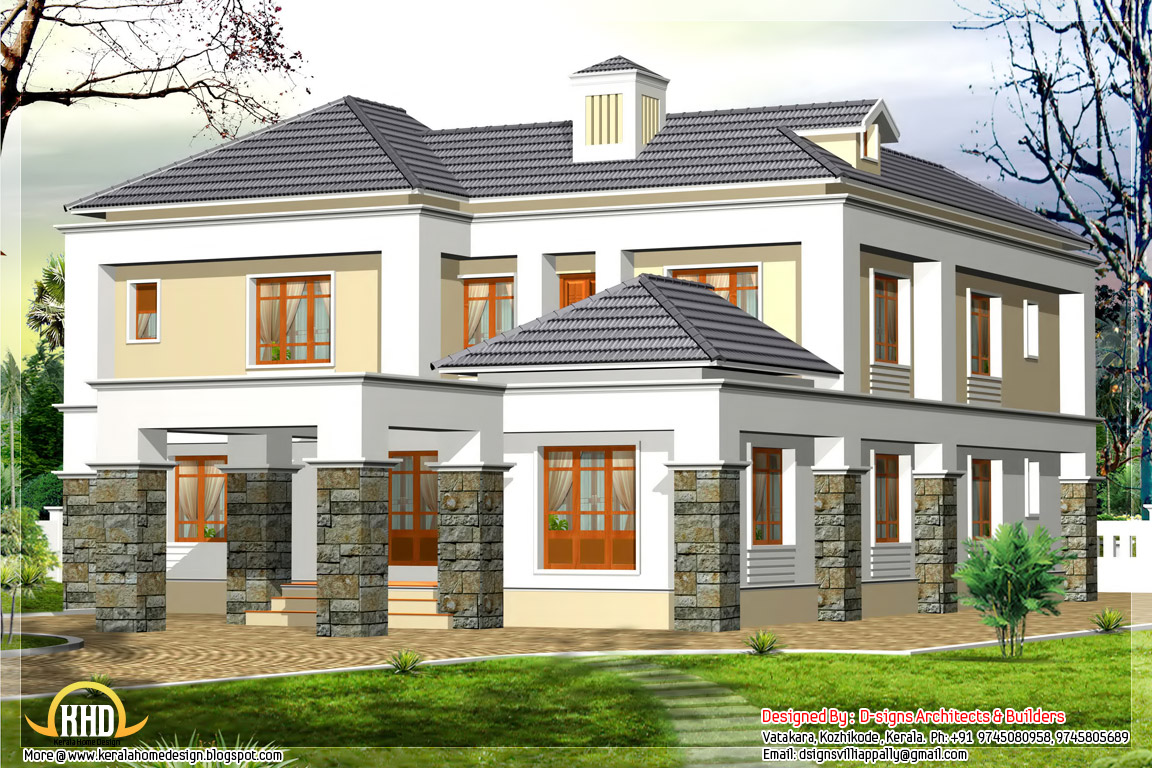 Western Style Box Elevation 2600 Kerala Home