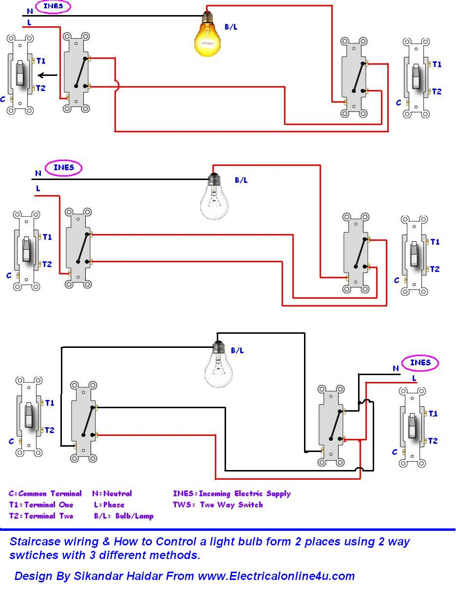 Do Staircase Wiring Circuit With 3 Different Methods – 2 Way Switching Wiring Diagram