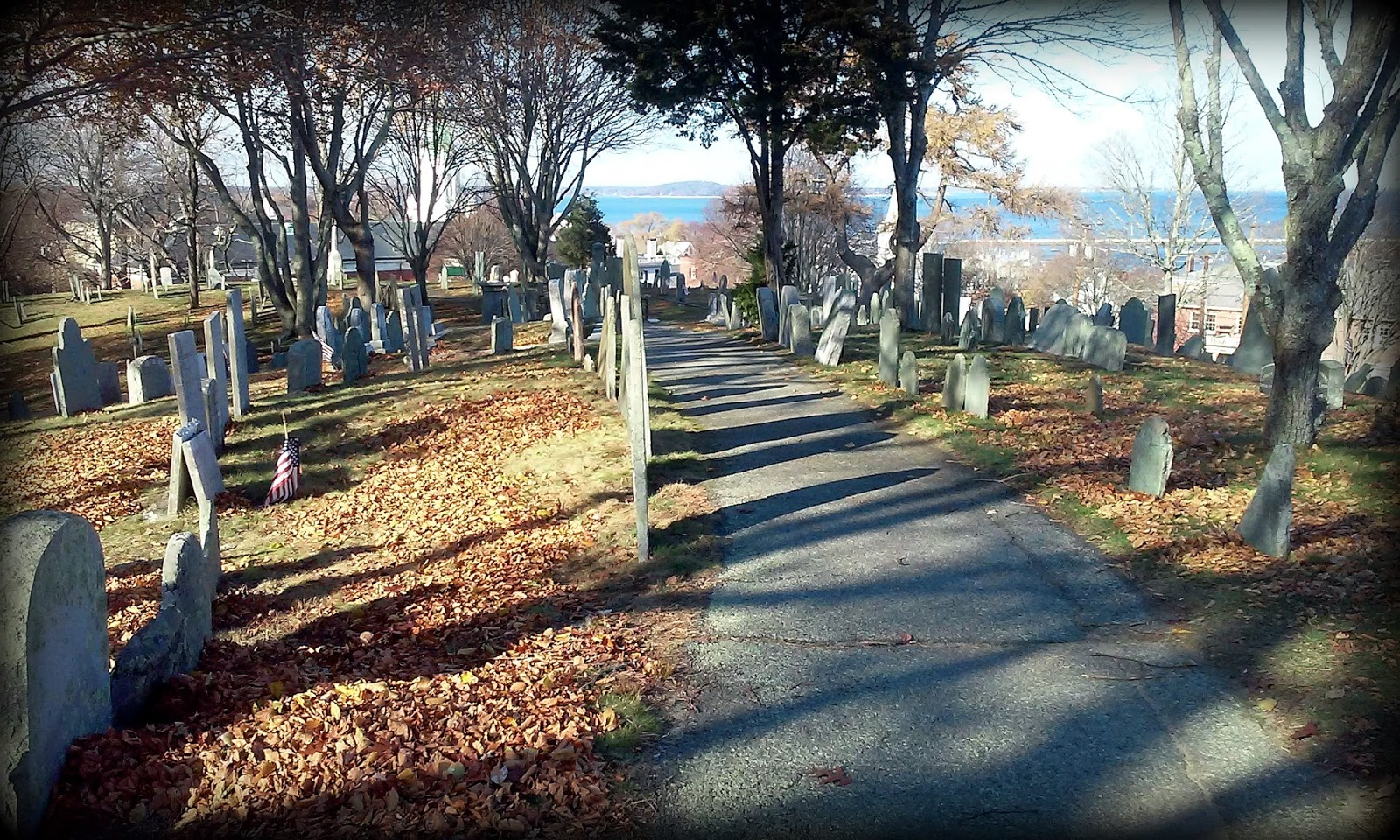 old burial hill, plymouth, massachusetts, shadow, cemetery, settlers, plantation