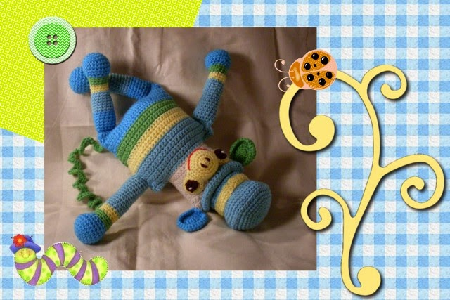 super cute monkey wearing stripes and a hat by Craftybegonia