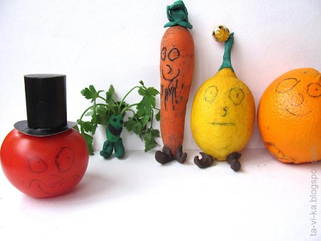 поделки из овощей - герои сказки Чиполлино