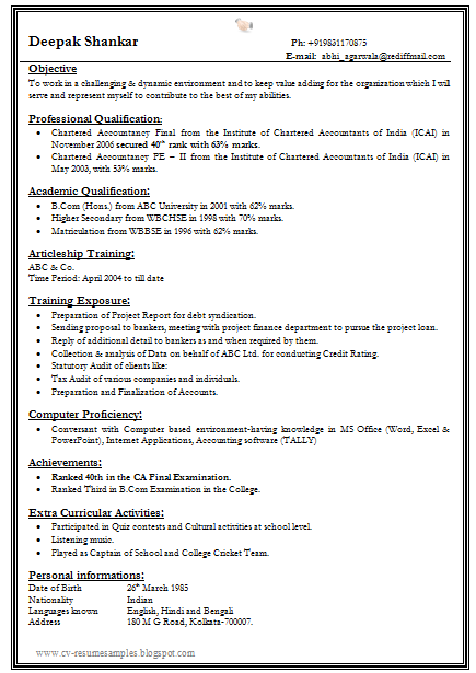 free download link one page fresher resume format for all