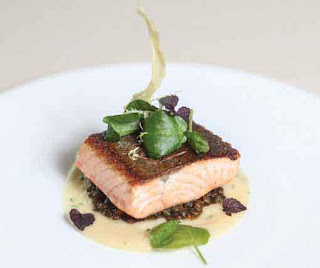 Crispy Organic Salmon With Parsnip Puree, Braised Puy Lentils and Watercress Salad