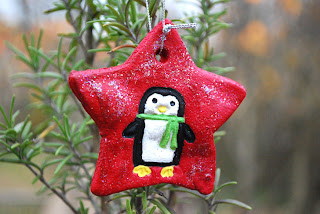 Salt Dough star shape ornament with painted penguin