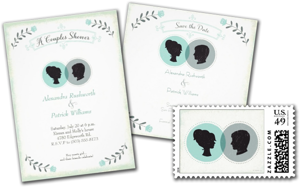 His & Hers Silhouettes Personalized Wedding Invites