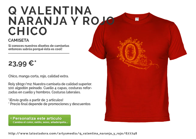 Camiseta Q Valentina Naranja y Rojo