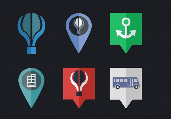 Map Flat Icons PSD