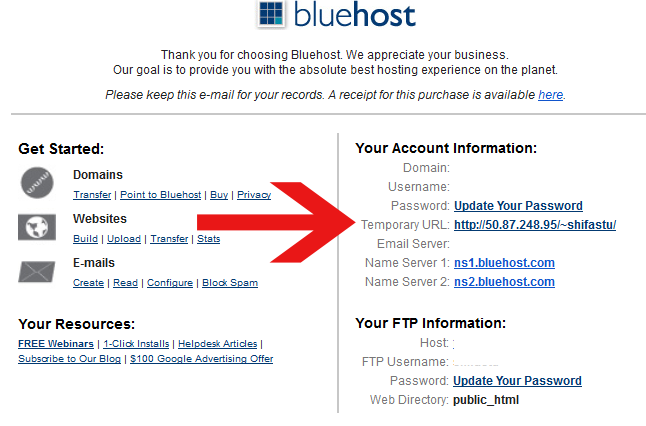 bluehost temporary url