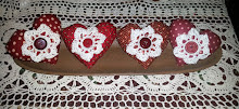 VALENTINE HEARTS WITH CROCHET CENTERS