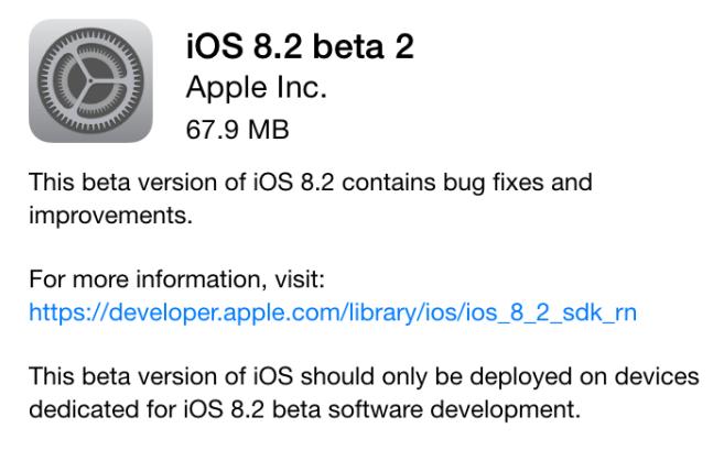 Apple iOS 8.2 Beta 2 Firmware (Build-12D445d) OTA