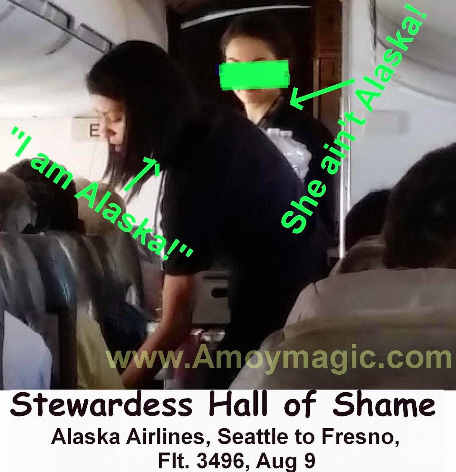 Flight Attendant Stewardess Hall of Shame Alaska Airlines Flight 3496 August 9 Seattle Fresno