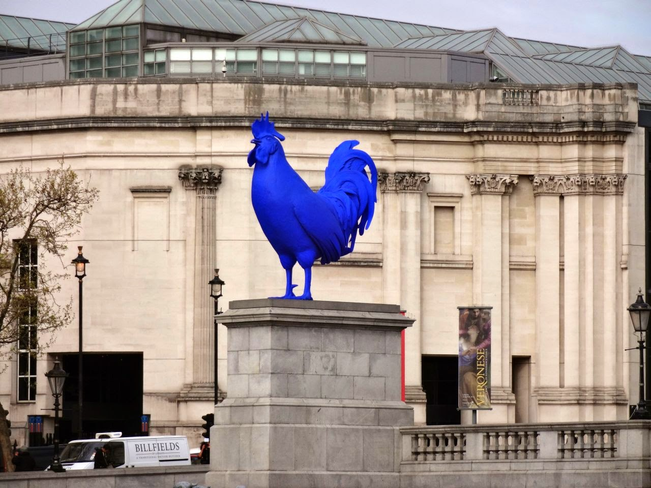 A massive blue cock in Trafalgar Square
