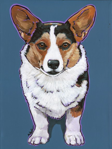 Welsh Corgi, dog painting, Cardigan