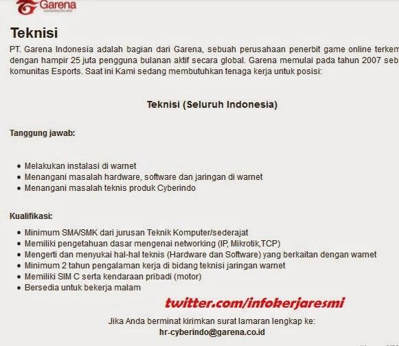 Lowongan kerja resmi PT Garena Indonesia