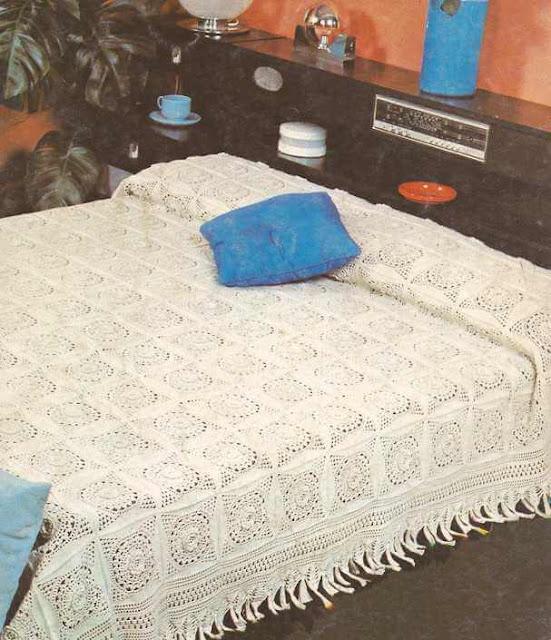 "#5 Colcha Blanca ""Rosetones"" a Crochet"