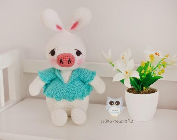 Amigurumi Pig Rabbit : fukuroucrafts: Cute Crochet Pig Rabbit Doll, Amigurumi ...