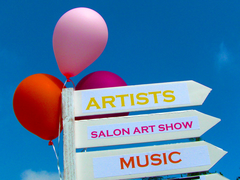 balloons with Artists, Salon Art Show, Music sign in Altadena Art on Millionaire's Row