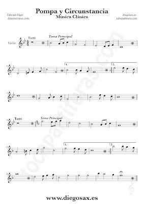 Tubepartitura Pompa y Circunstancia de Edward Elgar partitura de Flauta canción de Música Clásica