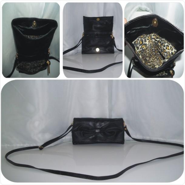 Bolsa em couro liso com detalhe de laço: Cód.1053A