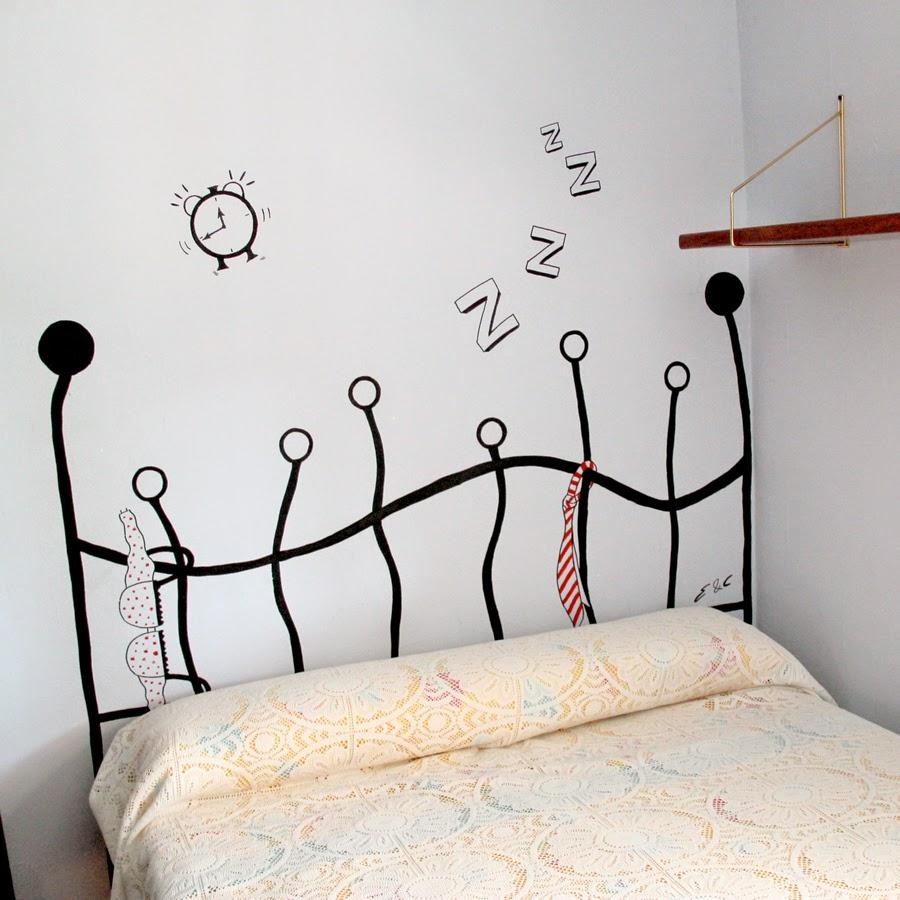 C mo hacer un cabecero pintado en la pared la curiosidad - Ideas para hacer un cabecero original ...
