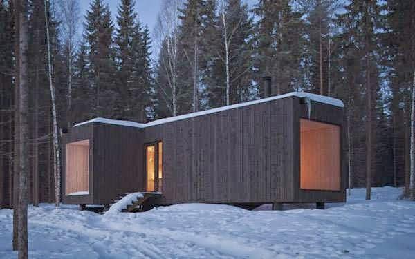 minimalist house of woods winter design on virrat finland