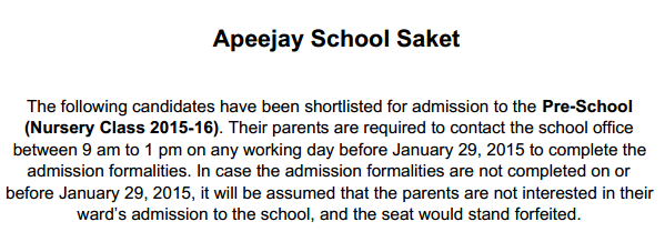 Apeejay School Saket Selected Candidates For Nursery Admission 2015-16 In Draw Of Lots