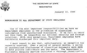 Secretary George Schultz Letter