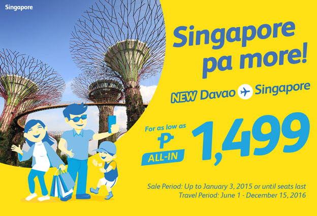 Cebu Pacific Airlines Davao to Singapore 2016