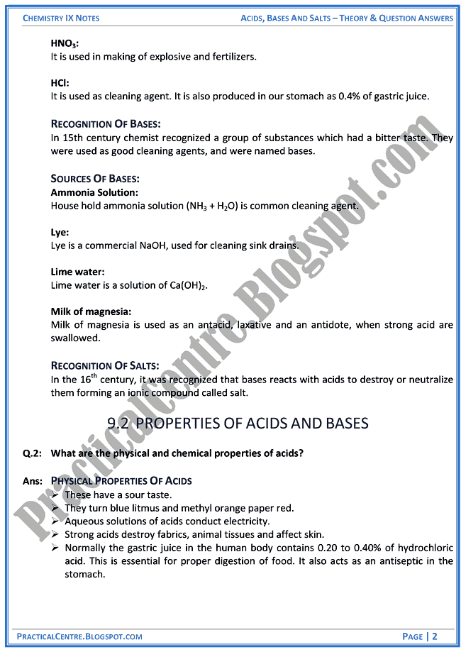 chemistry acids and bases test pdf