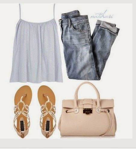 Cute Spring Outfit, white racerback and sandles  jean blouse cute woman