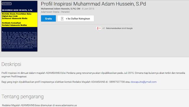 Brosur Profil Inspirasi Muhammad Adam Hussein, S.Pd di Google Play Book Store