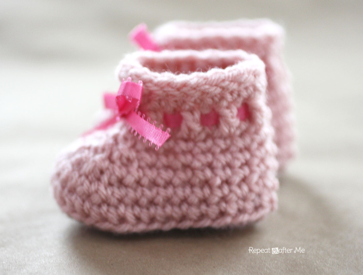Crocheting Booties : Crochet Newborn Baby Booties Pattern - Repeat Crafter Me