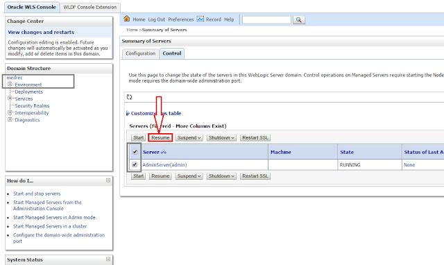 Resume a WebLogic Server from Admin mode