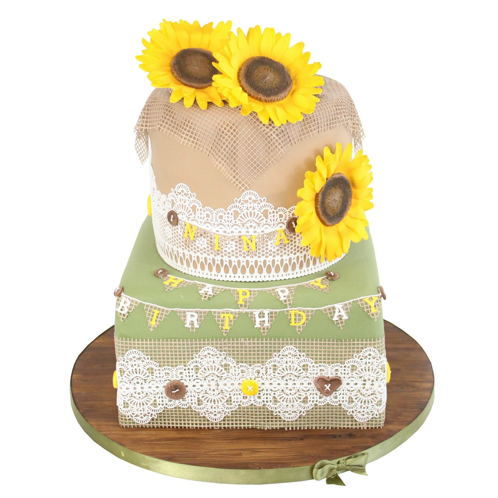Almond Art: Sunflowers, Hessian & Vintage Lace Cake