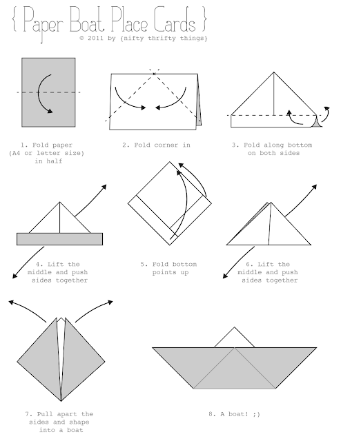 Paper Boat Place Cards Printable Origami Paper Boat Instructions